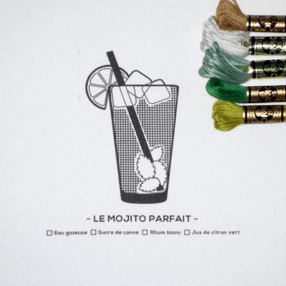 MOJITO, Kit de Broderie, affiche-textile Reaytobemade par noodlegraphique.