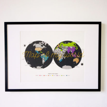 Map of my world, Kit de Broderie, affiche-textile Reaytobemade par noodlegraphique.
