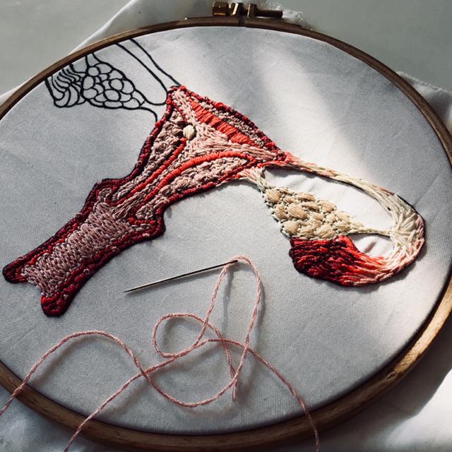 Sous les jupes des filles, Kit ready to be made, affiche textile à broder,